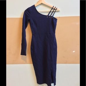 Navy one sleeve dress